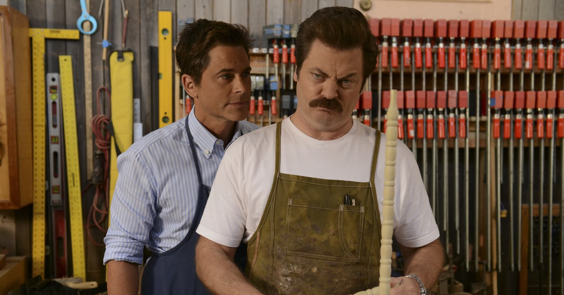 "Rob Lowe as Chris Traeger and Nick Offerman as Ron Swanson in NBC's ""Parks and Recreation"""