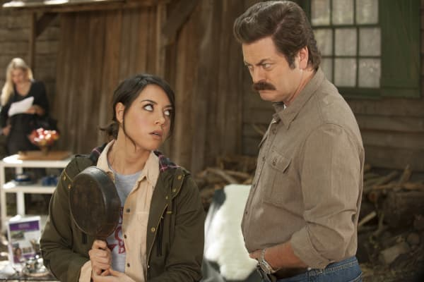 "Aubrey Plaza as April Ludgate, Nick Offerman as Ron Swanson in NBC's ""Parks and Recreation"""