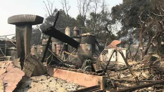 Paradise Ridge Winery after wildfires raged through Northern California.