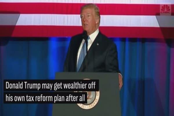 Trump walks back his pledge that tax reform won't make him richer