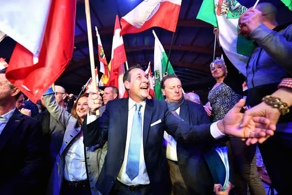 Heinz-Christian Strache, chairman of Austria's far-right Freedom Party FPOE, is pictured during his party's New Year's convention on January 14, 2017 in Salzburg, Austria.