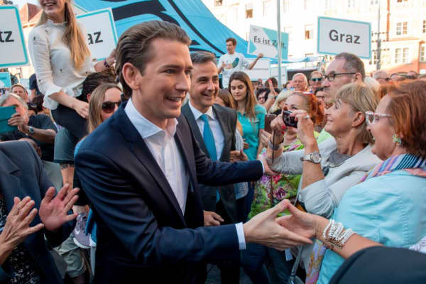 Head of the centre-right People's Party (OeVP) Sebastian Kurz greet voters while attending an election rally in Graz, Austria on September 04, 2017.