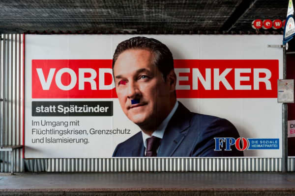 An over painted election poster of the election candidate chairman of the Freedom Party of Austria (FPOe) Heinz-Christian Strache is pictured in Vienna, Austria on October 02, 2017, ahead of snap parliamentary elections on October 15.