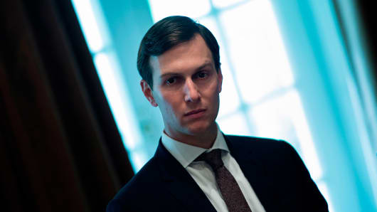 Senior Advisor Jared Kushner waits for a meeting with Prime Minister of Malaysia Najib Razak, US President Donald Trump and others in the Cabinet Room of the White House September 12, 2017 in Washington, DC.