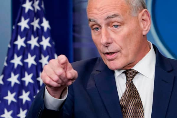 White House Chief of Staff John Kelly speaks during the daily briefing in the Brady Briefing Room of the White House on October 12, 2017 in Washington, DC.