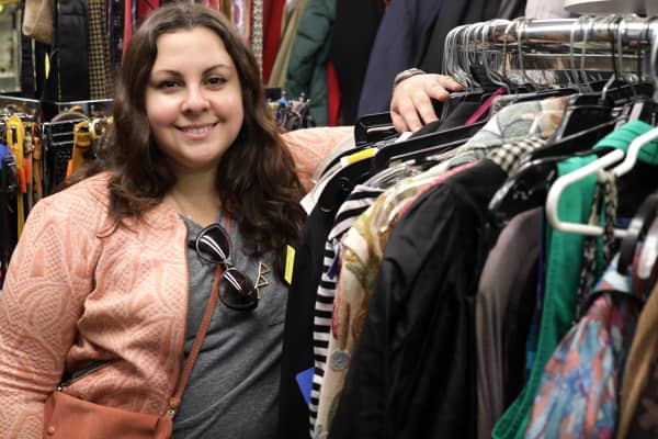 Natalie Gomez, 35, spends up to 10 hours a week shopping for clothes at stores, including thrift stores like Council Thrift Shop on New York's Upper East Side.