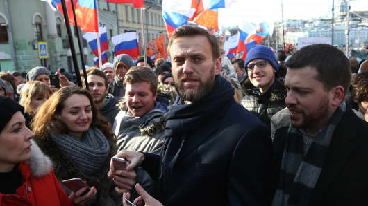 Russian protestor Alexei Navalny at a mass march on the one-year anniversary of dissident Boris Nemtsov's killing on Feb. 27, 2016 in Moscow, Russia.