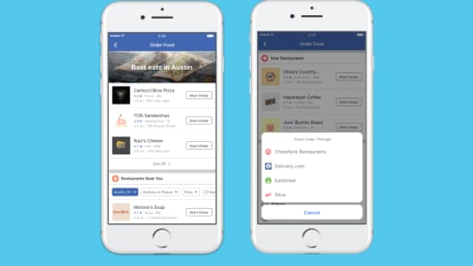 Facebook launches USA food order and delivery service