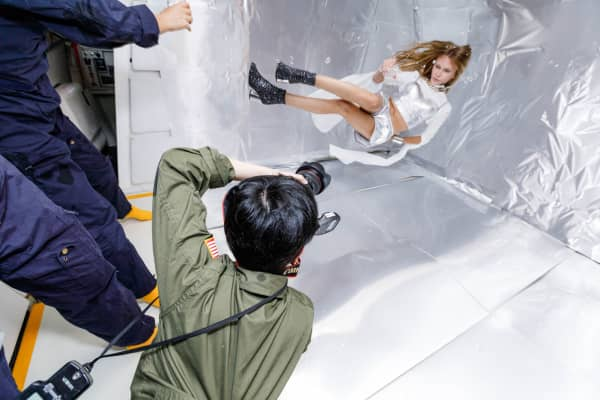 Photographer Reiko Wakai shoots model Stav Strashko on a zero gravity flight, in a campaign run by Wix.com