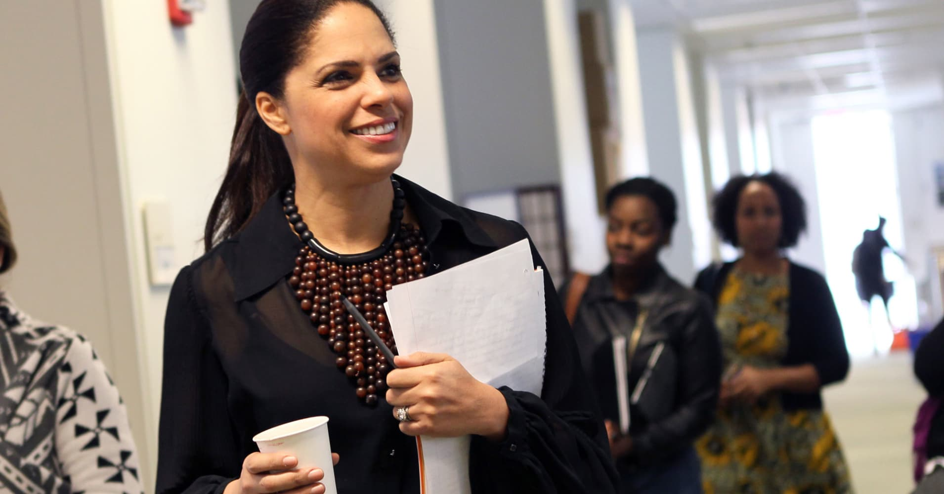 Broadcast journalist Soledad O'Brien walks thorough the Office of Student Life for a press conference at UMass Boston before a speaking engagement at the school.