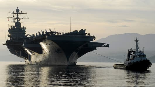 The aircraft carrier USS Harry S. Truman arrives in Souda Bay, Crete.