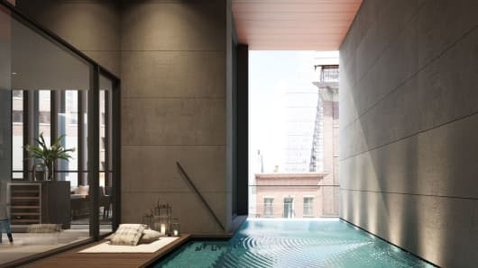 A four foot deep salt water pool off of the living room at the Soori High Line