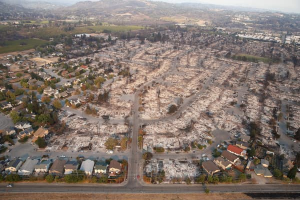An aerial view of properties destroyed by the Tubbs Fire is seen in Santa Rosa, California, U.S., October 11, 2017.