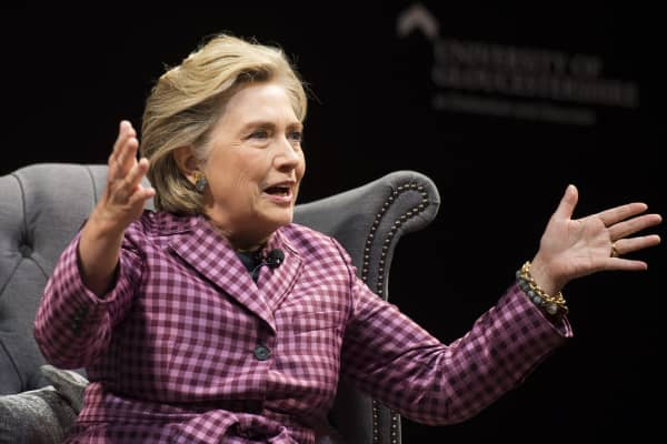 Hillary Clinton is interviewed by Mariella Frostrup (not pictured) at the Cheltenham Literature Festival on October 15, 2017 in Cheltenham, England.