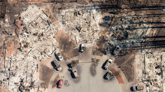 In this aerial view, a burned neighborhood is seen in Santa Rosa, California on October 12, 2017.