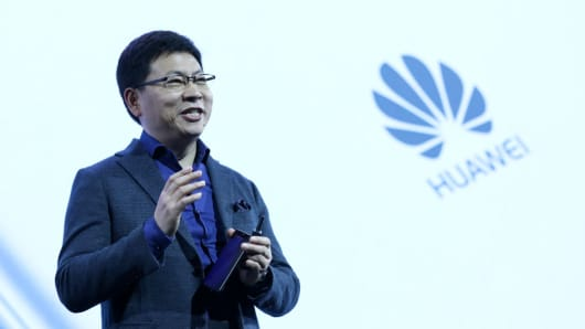 Richard Yu, chief executive officer of Huawei's consumer business group, speaking during the launch of P10 & P10 Plus smartphones and Huawei Watch 2 smartwatch, ahead of the Mobile World Congress (MWC) in Barcelona, Spain, on Sunday, Feb. 26, 2017.