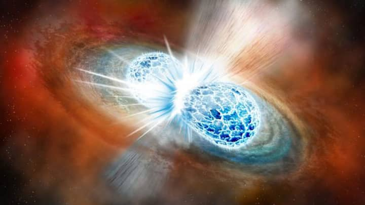 Artist's concept of the explosive collision of two neutron stars.