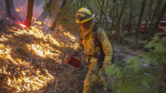 A firefighter on October 15, 2017 near Santa Rosa, California.