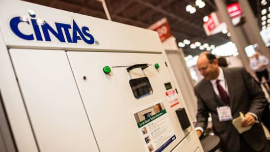 A Cintas scrub return station on display during the International Pharmaceutical Expo in New York last March.