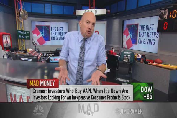 Cramer: The action in Apple's stock is a lesson on buying into weakness
