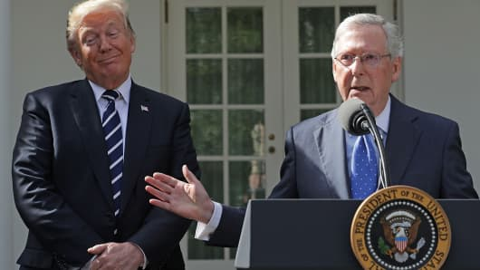 President Donald Trump (L) and Senate Majority Leader Mitch McConnell (R-KY) talk to reporters in the Rose Garden following a lunch meeting at the White House October 16, 2017 in Washington, DC.