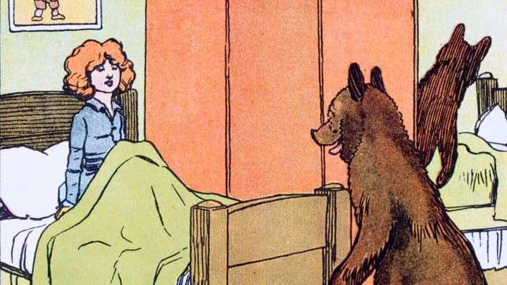 Goldilocks found by the tiny wee bear. A 20th century Childrens' book illustration for 'The Story of the Three Bears.'