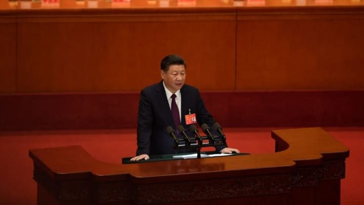 Chinese President Xi Jinping delivers a speech at the opening session of the Chinese Communist Party's five-yearly Congress at the Great Hall of the People in Beijing on October 18, 2017.