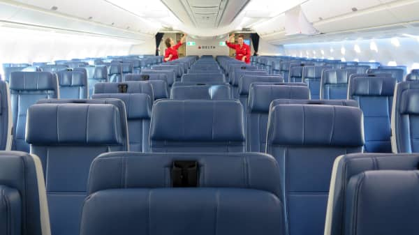 Delta's coach section on their new Airbus A350.
