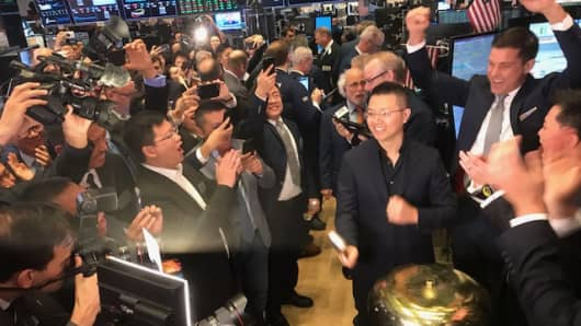 Min Luo, CEO of Qudian rings the bell at the NYSE on Oct. 18th, 2017.