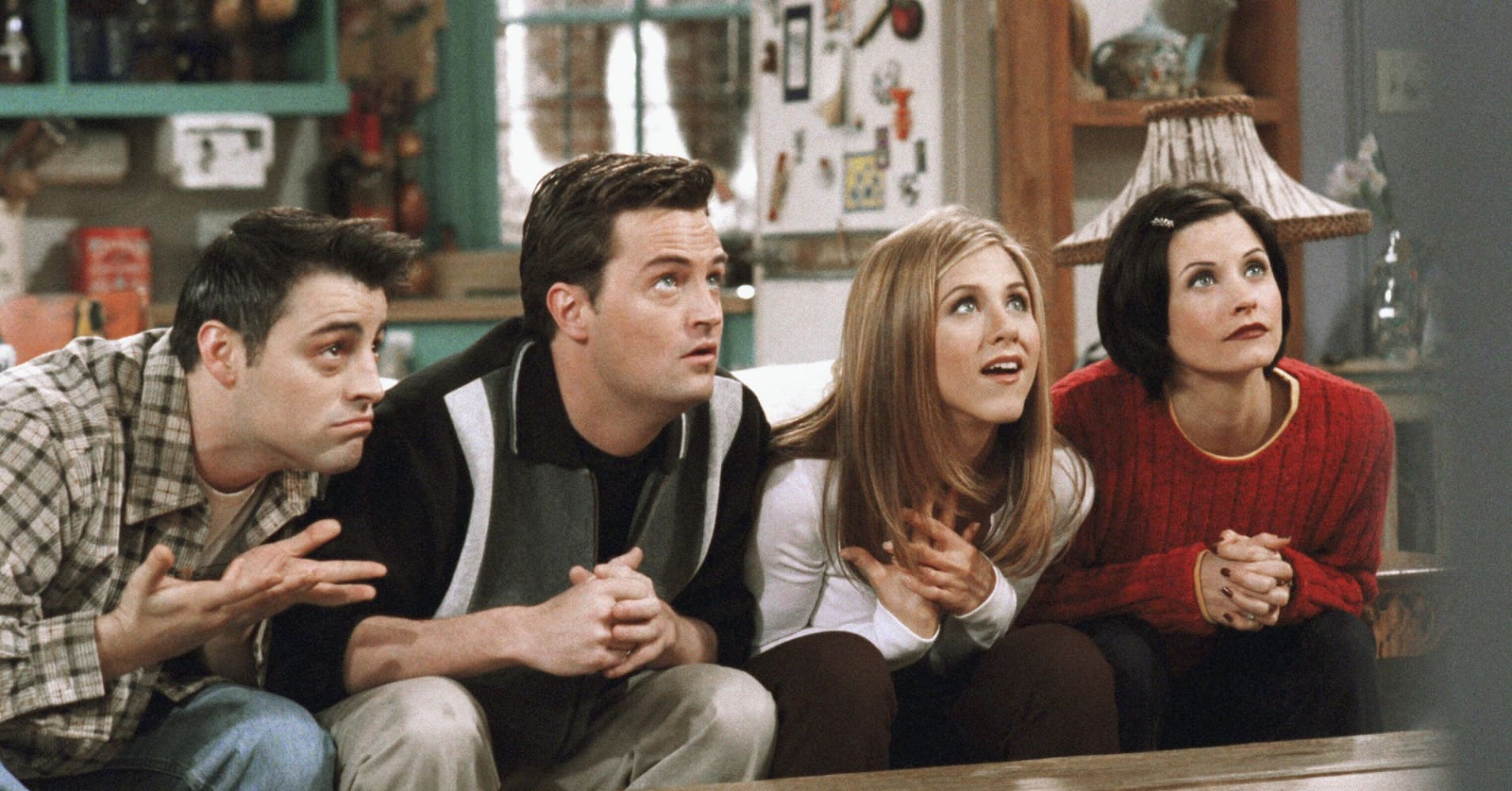 "Matt Le Blanc as Joey Tribbiani, Matthew Perry as Chandler Bing, Jennifer Aniston as Rachel Green and Courteney Cox as Monica Geller on NBC's ""Friends."""