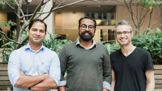 Spoke's founders. From left, Pratyus Patnaik, Jay Srinivasan and David Kaneda.
