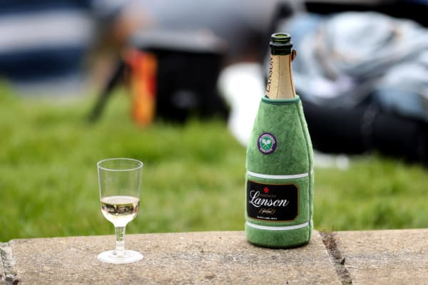 A bottle of Lanson champagne at the Wimbledon tennis championships in July 2017