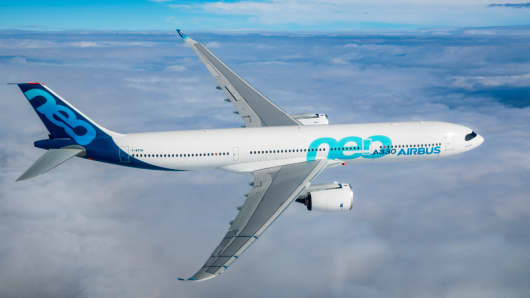 Airbus A330neo on its maiden flight.