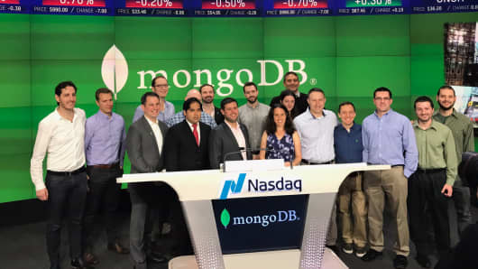 The IPO of mongoDB at the Nasdaq in New York, October 19, 2017.