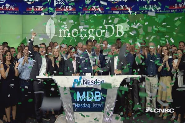 MongoDB rings in the trading session at the Nasdaq MarketSite