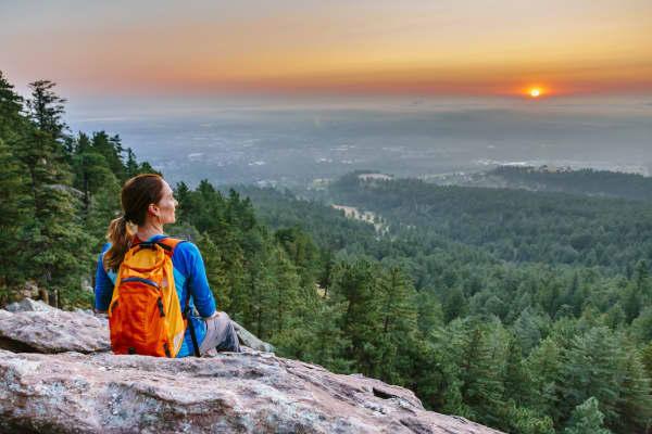 Sunrise over Boulder from second Flatiron. Boulder, Colorado.