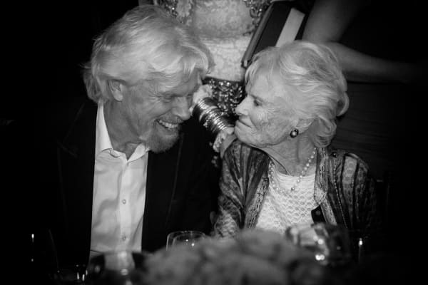 Sir Richard Branson and his mother, Eve Branson, at the AltaMed Health Services' Power Up, We Are The Future Gala at the Beverly Wilshire Four Seasons Hotel on May 12, 2016 in Beverly Hills, California.