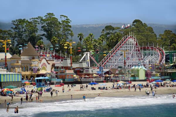 Santa Cruz beach boardwalk amusement park. Santa Cruz, California.