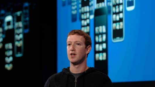 Mark Zuckerberg, chief executive officer of Facebook Inc., speaks during an event in Menlo Park, California.