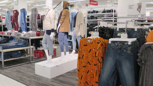 Apparel on display at the new Target store in Herald Square.