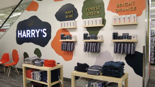 Harry's products on display at Target's new Herald Square store.