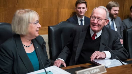 Chairman Lamar Alexander, R-Tenn., and Sen. Patty Murray, D-Wash., ranking member, are seen during a Senate Health, Education, Labor and Pensions Committee hearing in Dirksen Building titled 'Examining How Healthy Choices Can Improve Health Outcomes and Reduce Costs,' on October 19, 2017.