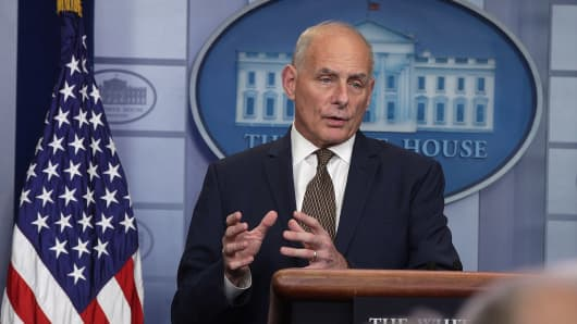 White House Chief of Staff John Kelly speaks during a daily news briefing at the James Brady Press Briefing Room of the White House.