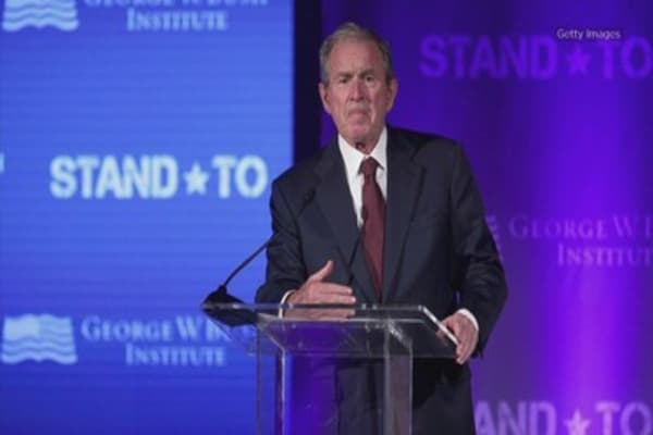 George W. Bush assails Trumpism without naming Trump