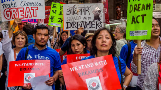 A Dreamer rally held by the the Asian American Federation and immigrant advocacy groups outside Trump Tower in Manhattan on Oct. 5, 2017.
