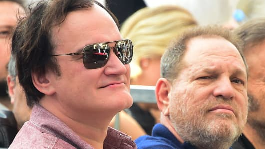 Film director Quentin Tarantino and producer Harvey Weinstein attend Italian composer Ennio Morricone's Hollywood Walk of Fame Star ceremony on February 26, 2016 in Hollywood, California.