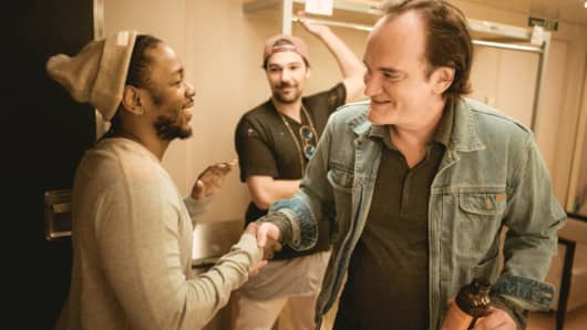 Kendrick Lamar, co-founder Jeff Rosenthal and Quentin Tarantino behind the scenes at Summit at Sea 2016