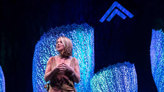 Esther Perel, relationship expert and therapist, on stage at Summit at Sea 2016