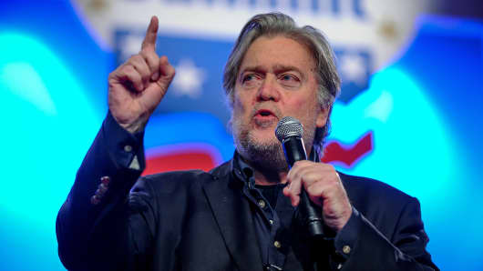 Former White House Chief Strategist Steve Bannon delivers remarks during the Value Voters Summit at the Omni Shoreham Hotel in Washington, U.S., October 14, 2017.