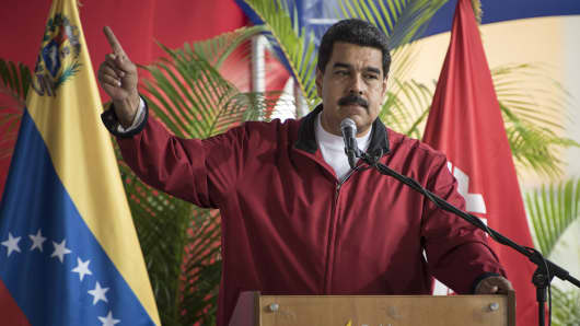 Nicolas Maduro, president of Venezuela, speaks during a swearing in ceremony for the new board of directors of Petroleos de Venezuela SA (PDVSA), Venezuela's state oil company, in Caracas, Venezuela, on Tuesday, Jan. 31, 2017.